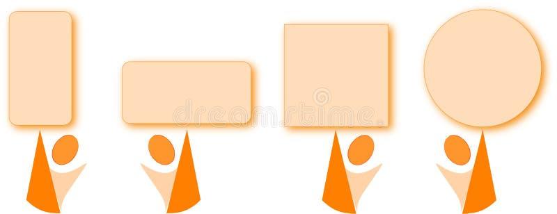 Orange Karikatur mit orange Geometrieabbildungen stock abbildung