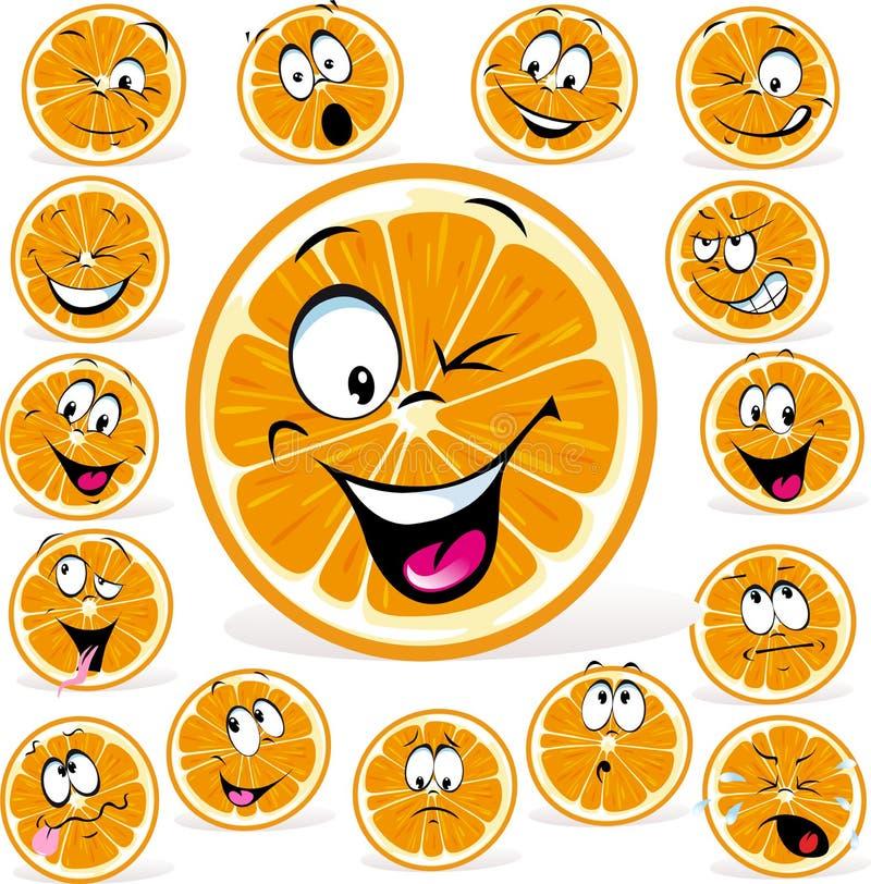 Orange Karikatur mit vielen Ausdrücken stock abbildung