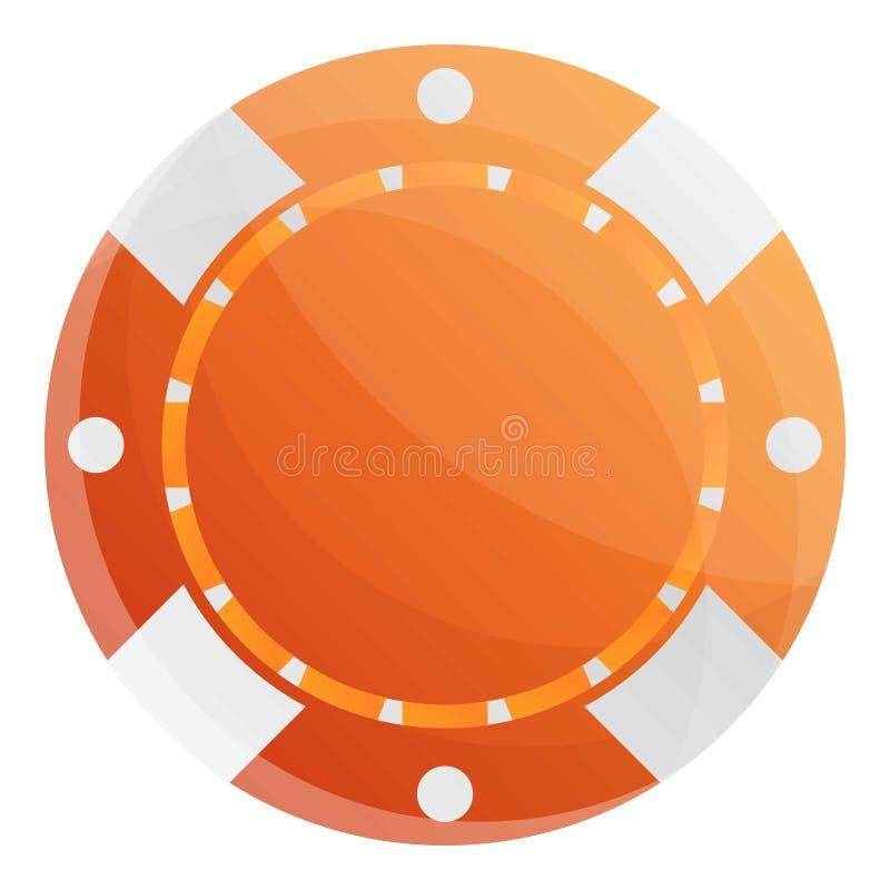Orange kasinochiper symbol, tecknad filmstil vektor illustrationer