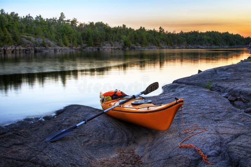 Orange Kayak royalty free stock image