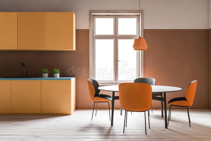 Orange kitchen interior with countertops and table. Interior of comfortable kitchen with white and orange walls, wooden floor, large window, yellow cupboards and vector illustration
