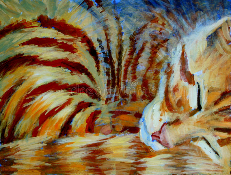 Orange Kitten Sleeping - Acrylic Painting stock illustration
