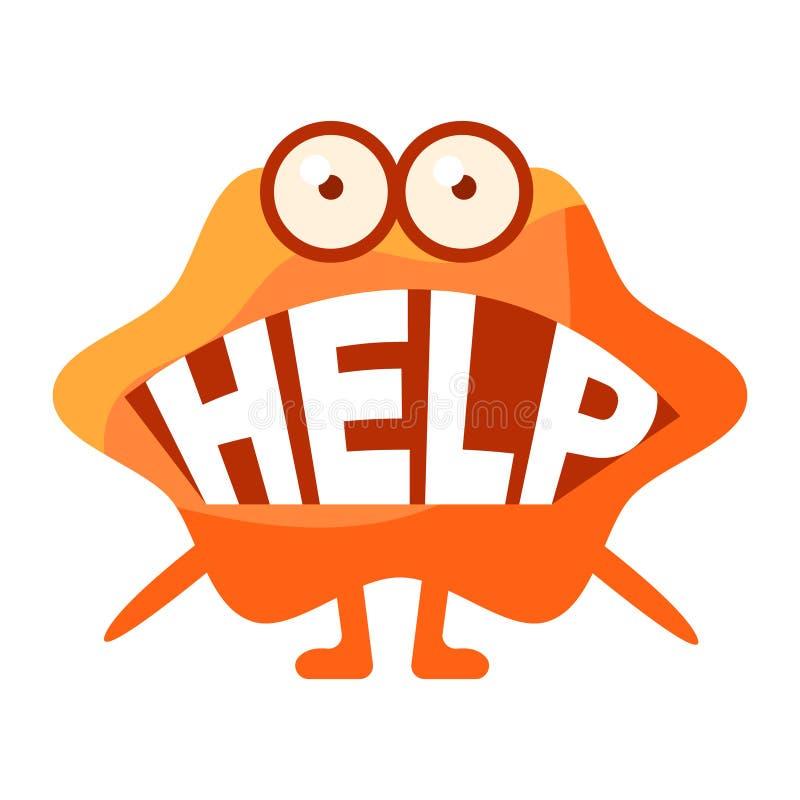 Orange klick som säger hjälp, gulligt Emoji tecken med ord i munnen i stället för tänder, Emoticonmeddelande vektor illustrationer