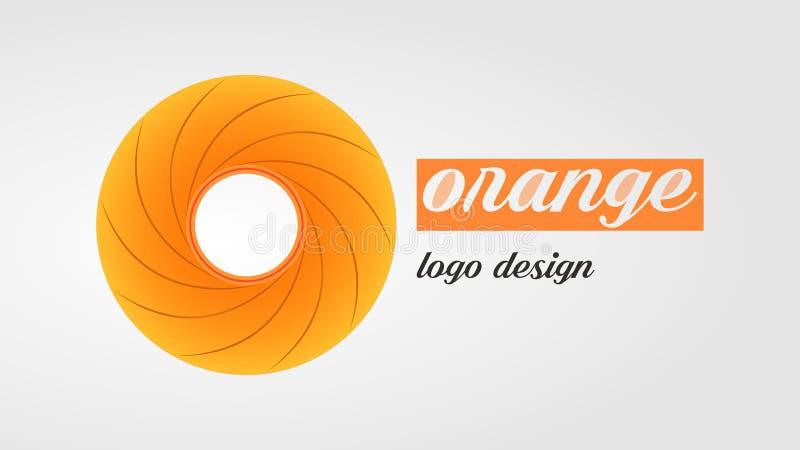 Orange orange Kreislogo mit schönem orange Text vektor abbildung