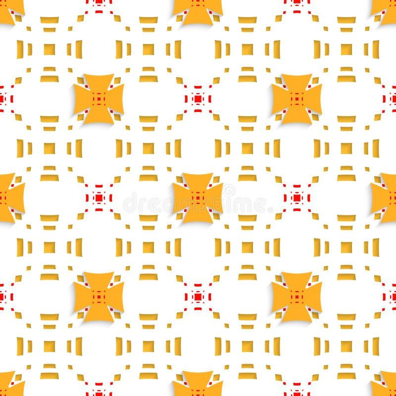 Orange Kreuze auf den obersten perforierten Rechtecken nahtlos stock abbildung