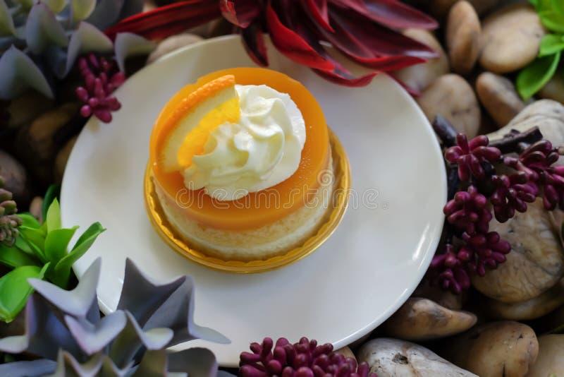 Orange Kuchen stockbilder