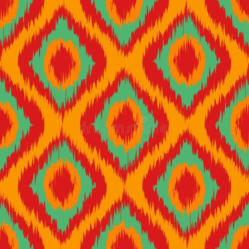 Orange lös gräsplan och röd Ikat sömlös bakgrund mönstrar vektorn vektor illustrationer