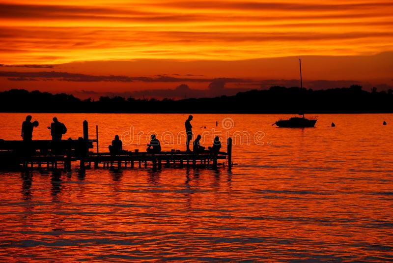 Orange Lake Mendota Sunset from the Memorial Union Terrace on June night in 2014 stock image