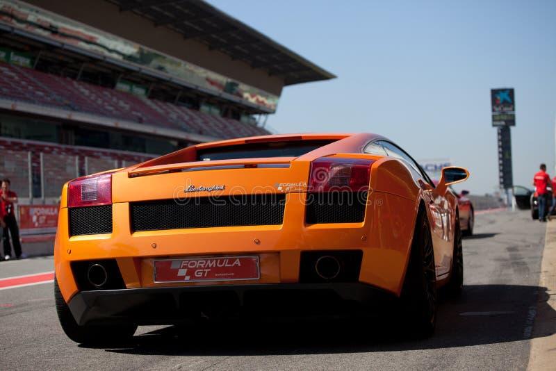 Orange Lamborghini stock image