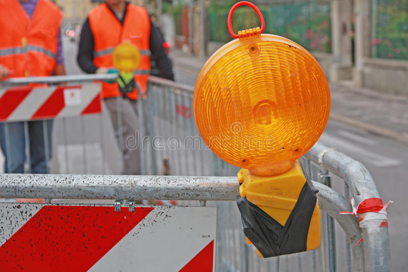Download Orange Lamp In A Roadworks In The City Stock Image - Image: 27092537