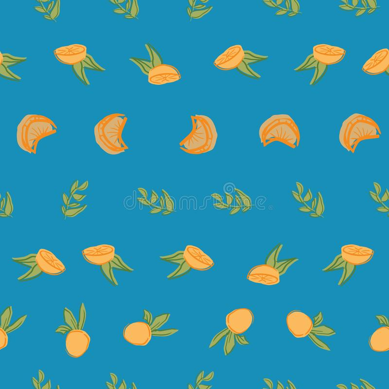 Orange leaf seamless repeat pattern deisgn. Great for food illustration and textile design vector illustration