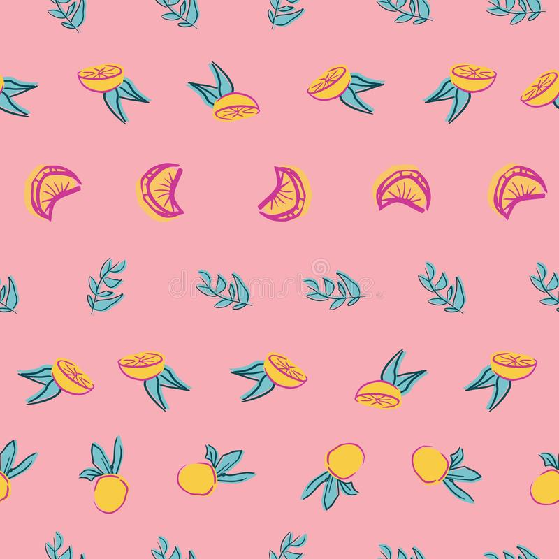 Orange leaf seamless repeat pattern deisgn. Great for food illustration and textile design stock illustration