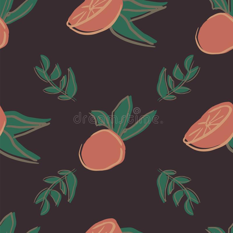 Orange leaf seamless repeat pattern deisgn. Great for food illustration and textile design royalty free illustration