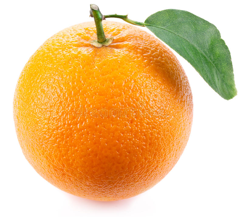 Orange with leaf. royalty free stock photos