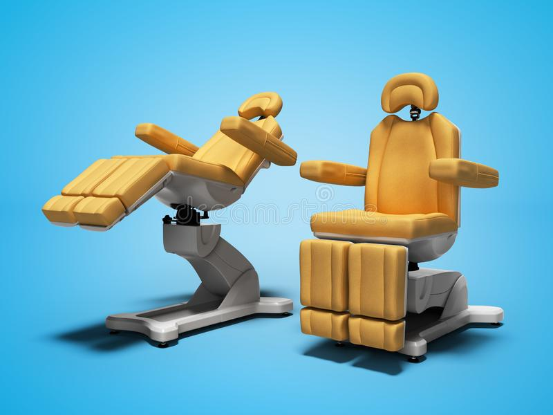 Orange leather pedicure chairs 3d render on blue background with shadow. Orange leather pedicure chairs 3d render on blue background stock illustration