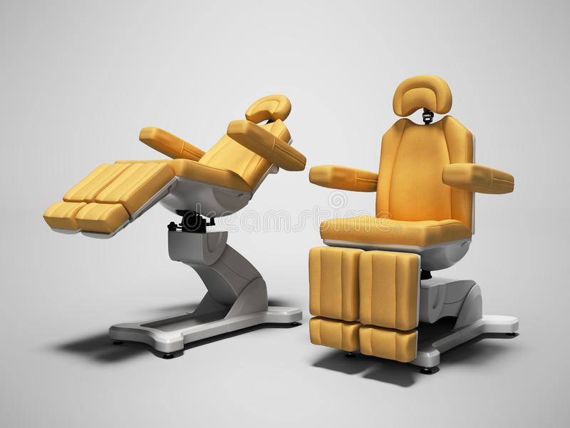 Orange leather pedicure chairs 3d render on gray background with shadow. Orange leather pedicure chairs 3d render on gray background royalty free illustration