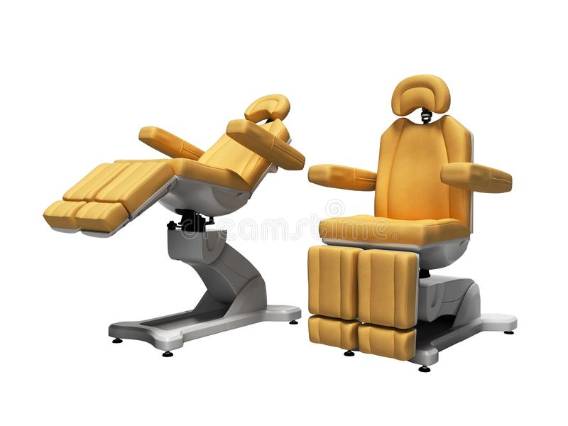 Orange leather pedicure chairs 3d render on white background no shadow. Orange leather pedicure chairs 3d render on white background vector illustration