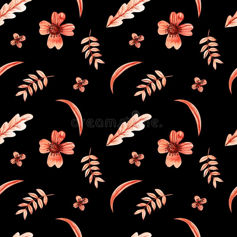 Orange leaves and flowers of plants on a black background. Seamless pattern. Watercolor drawings. royalty free illustration