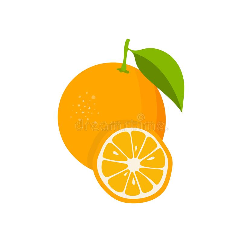 Orange with leaves and slice of orange. Flat orange. Citrus icon. Vector illustration.  royalty free illustration
