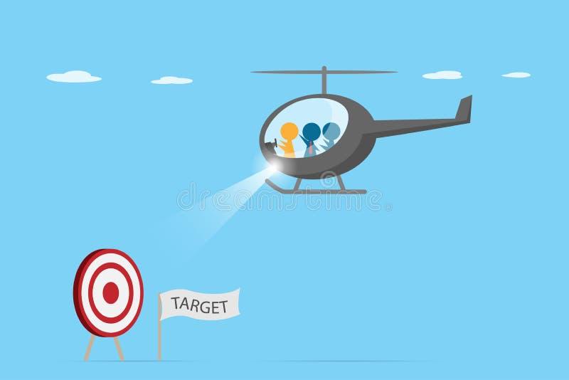 Orange ledare som kör helikoptern med blå anställd för att finna streckbrädet, ledarskap och affärsidé royaltyfri illustrationer