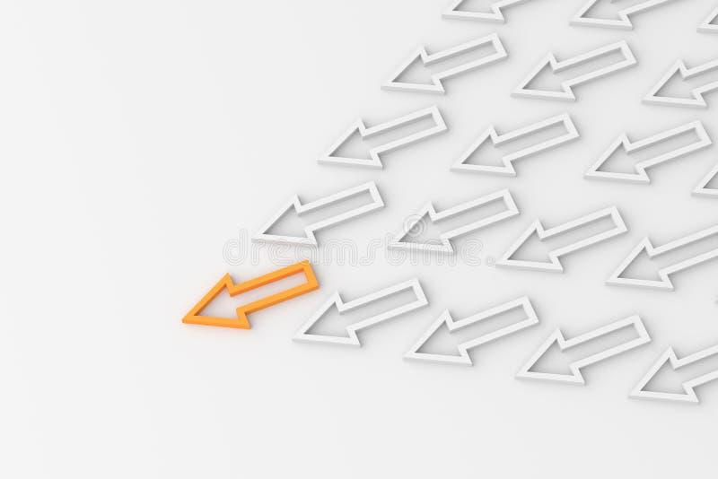 Orange ledarepil vektor illustrationer