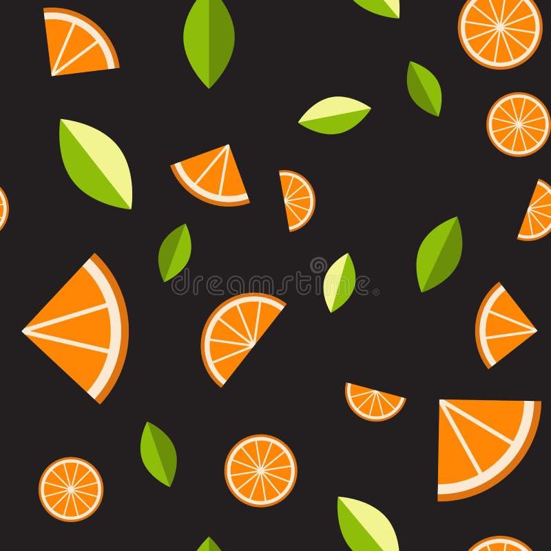Orange, lemon on black background. Seamless pattern. Vector illustration. royalty free illustration