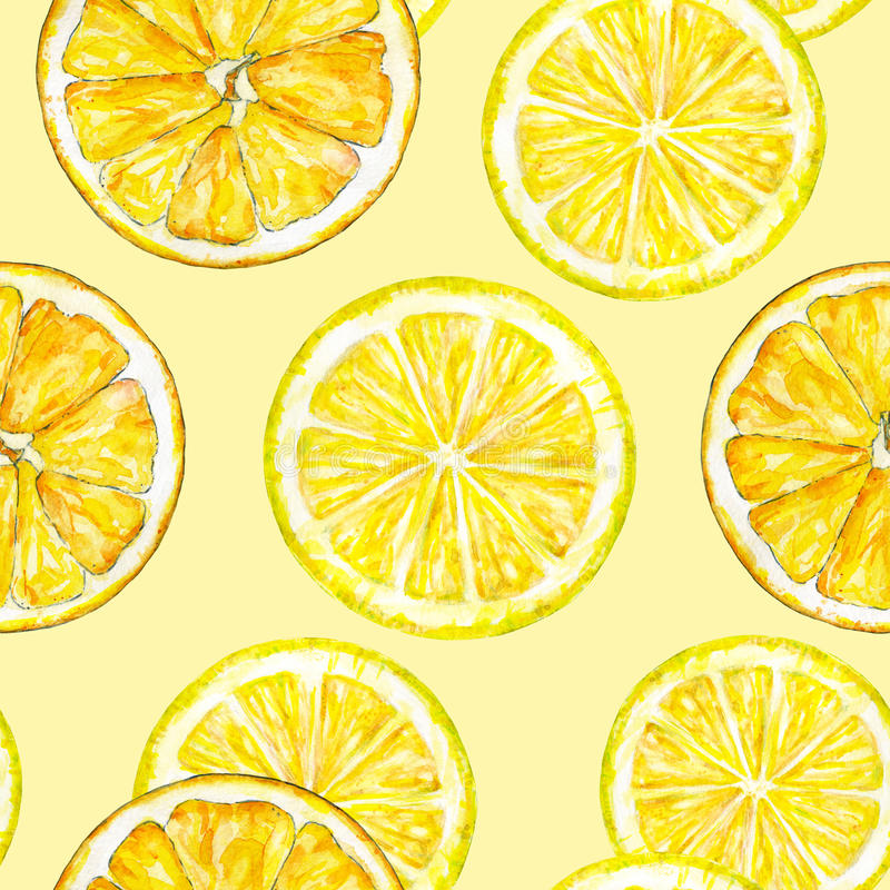 Free Orange Lemon Segments. Watercolor Drawing. Handwork. Tropical Fruit. Healthy Food. Seamless Pattern For Design Royalty Free Stock Photos - 73187968