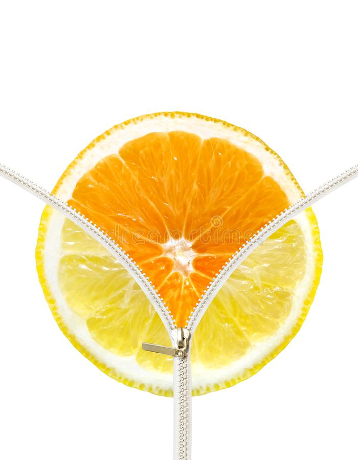 Orange and lemon slice royalty free stock photo