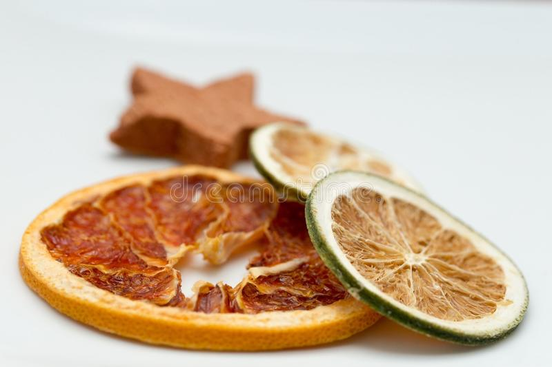 Orange and lemon slices stock photo
