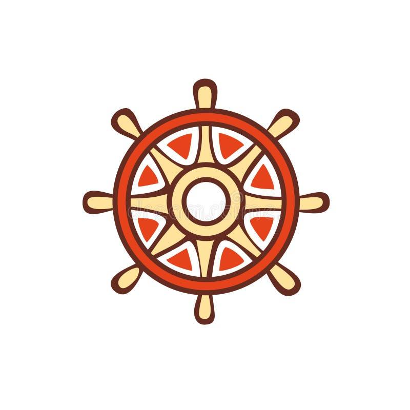 Orange Lenkrad emblem pictogram ikone stock abbildung