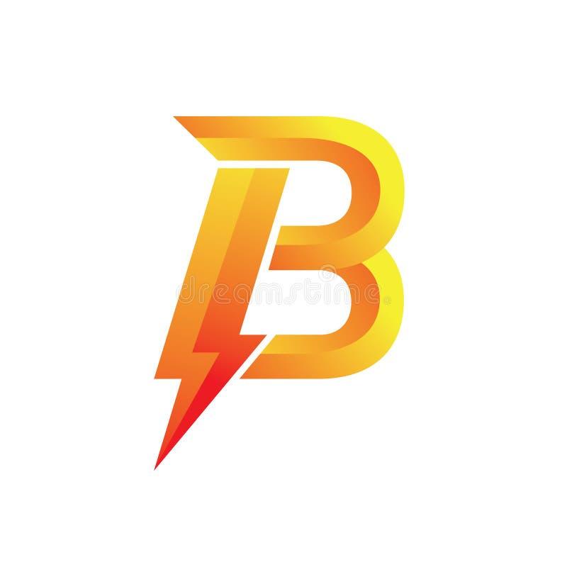 Power Spirit Orange Letter B Logo. Orange Letter B Logo Power , Logo Luxury, minimalist, badge logo, Edge, contrast color logo stock illustration