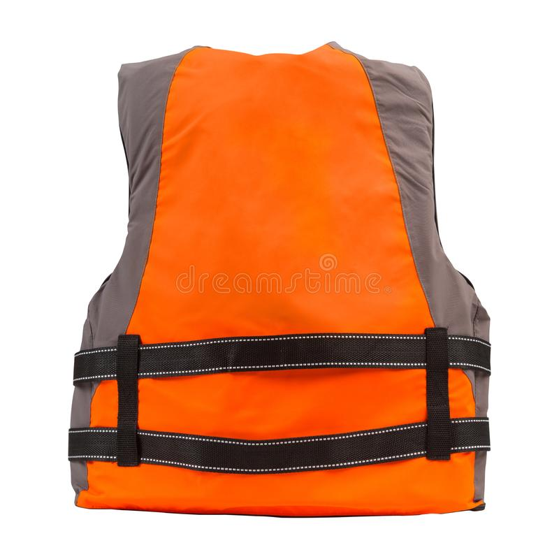 Orange life jacket on white background, view from the back, water safety concept stock images