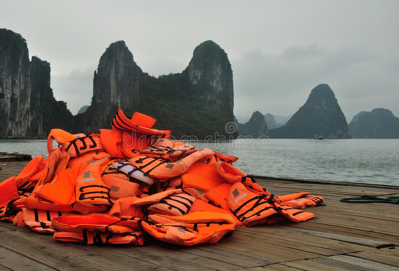 Orange Life Vests royalty free stock photo