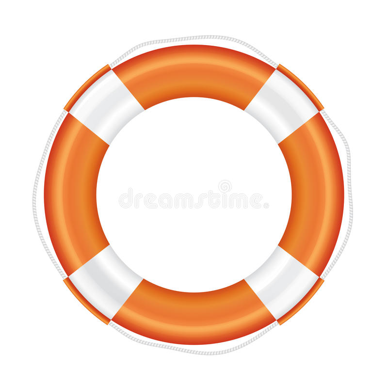 Orange lifebuoy with white stripes and rope. Orange lifebuoy with white stripes and rope (life salvation). Isolated on white background. Vector illustration stock illustration