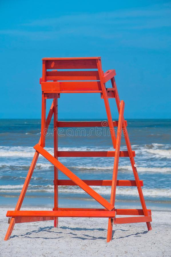 Free Orange Lifeguard Chair At The Beach Royalty Free Stock Image - 100421506