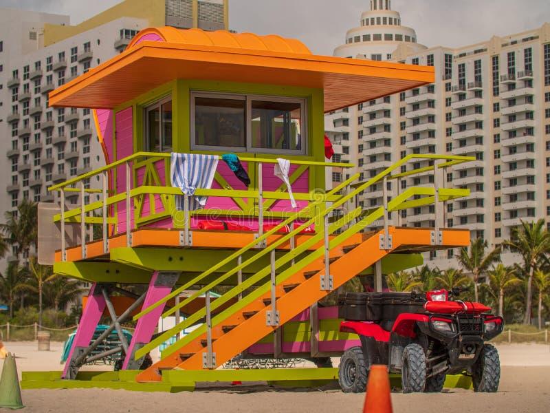 Orange Lifeguard Tower in South Beach, Miami Beach, Florida stock foto's