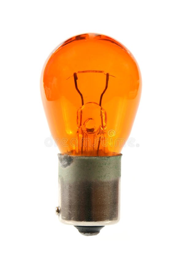 Orange light bulb. Isolated on white background royalty free stock photography
