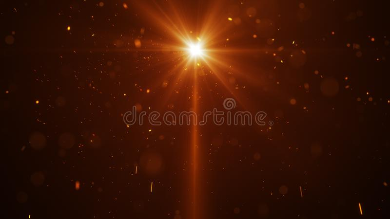 Orange light and glow particles abstract background royalty free illustration