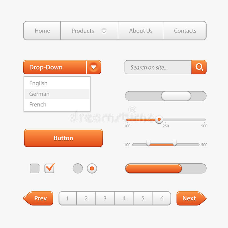Orange Light User Interface Controls. Web Elements. Website, Software UI: Buttons, Switchers, Drop-down, Navigation Bar royalty free illustration