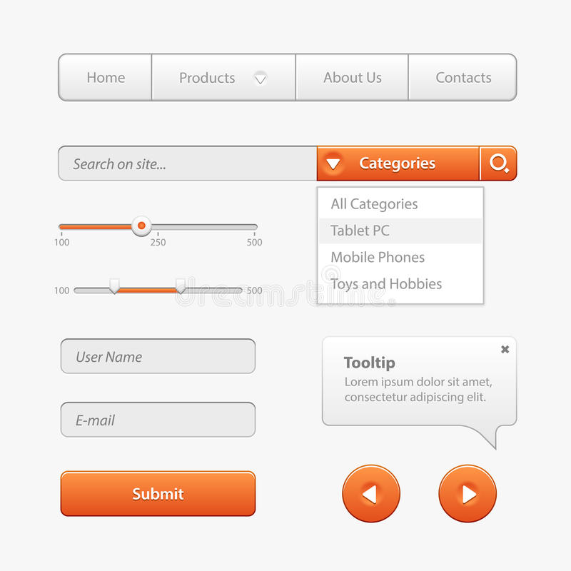 Orange Light User Interface Controls. Web Elements. Website, Software UI: Buttons, Switchers, Slider, Arrows, Drop-down. Orange Light User Interface Controls stock illustration