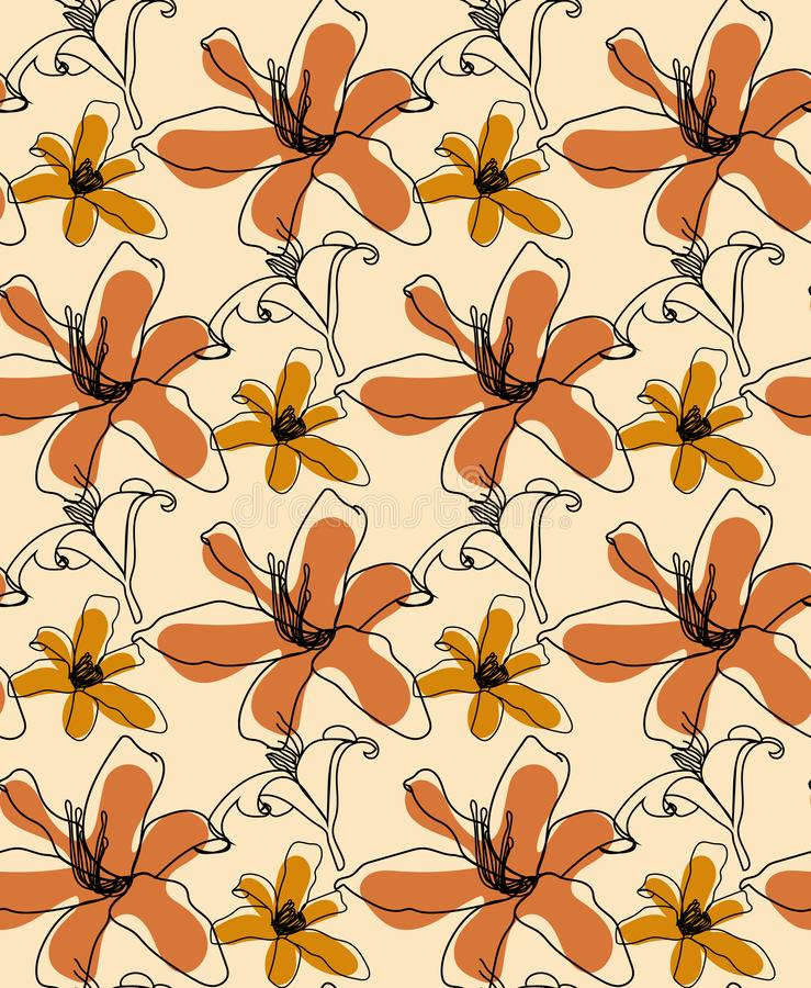 Orange lily flowers seamless pattern . Usable for different purposes stock photography