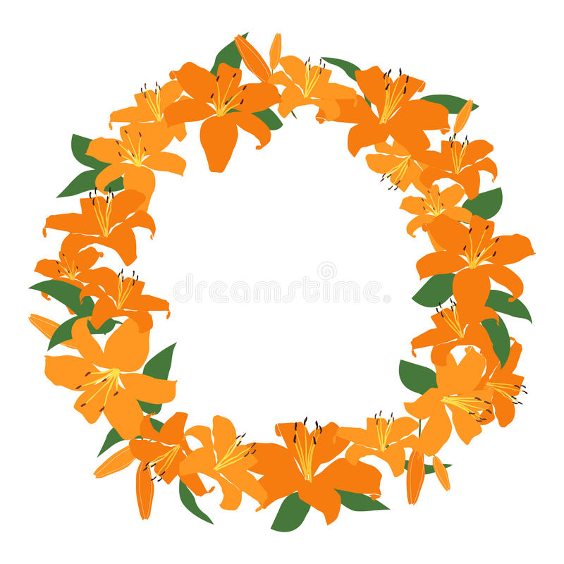 Orange lily frame, floral wreath circle frame, isolated vector royalty free illustration