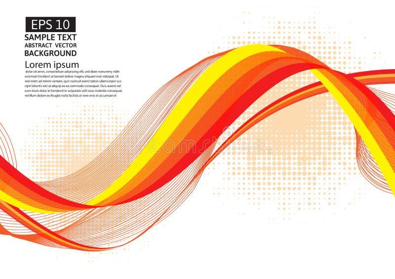 Orange Linie geometrischer abstrakter Vektorhintergrund der Welle stock abbildung