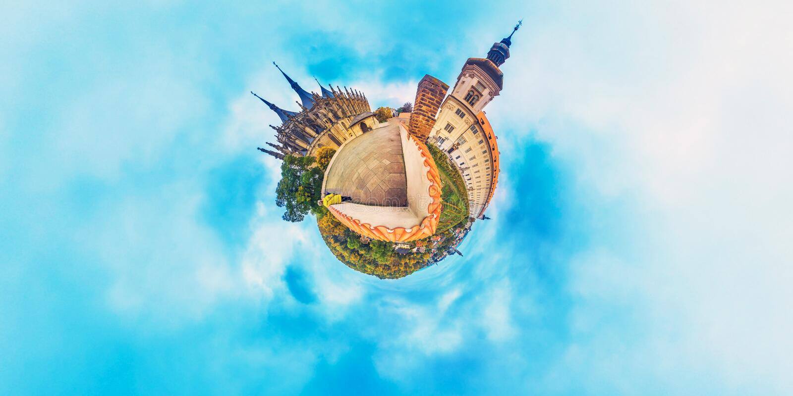 Orange little planet panorama with cathedrals and cyan sky. Europe, Czech, Kutna Gora. 360 royalty free stock photography