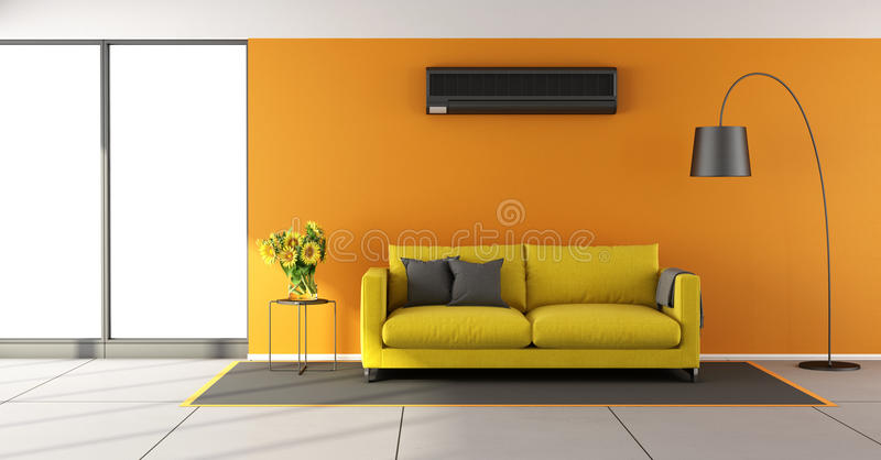 Download Orange Living Room With Air Conditioner Stock Illustration    Illustration Of Lounge, Conditioner: