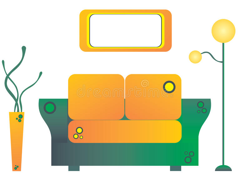 Orange Livingroom arkivfoton
