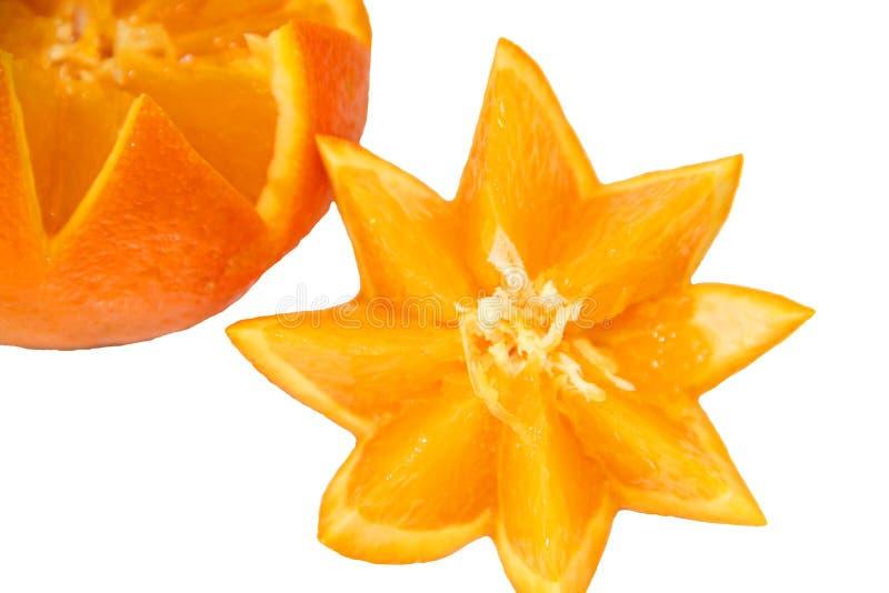 Orange ljust, soligt på en vit bakgrund arkivbild