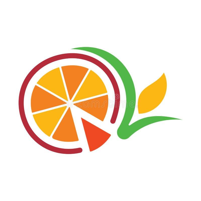 Orange Logo der Frucht mit Blattübersichtlichem design vektor abbildung
