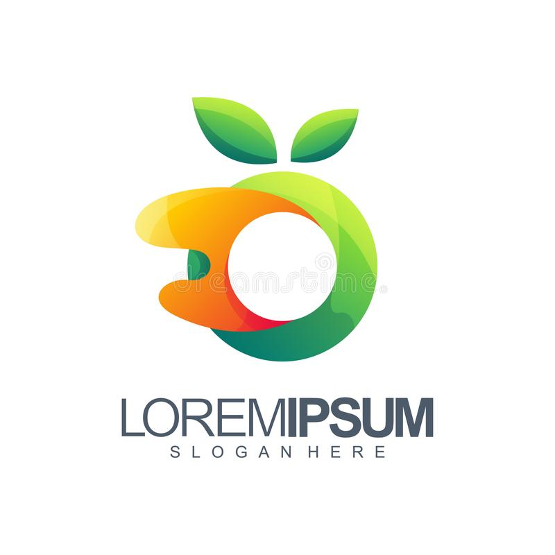 Orange Logodesign Vektorillustration lizenzfreie abbildung