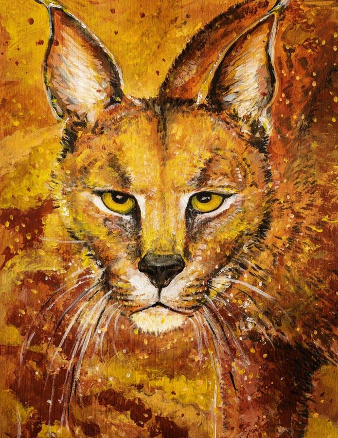 Orange lynx art in acrylics stock images